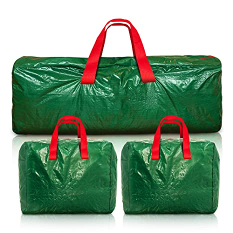 JIMBOBS 7FT-9FT CHRISTMAS TREE STORAGE BAG HEAVY DUTY PROTECT TREE BAUBLES LIGHTS FESTIVE SEASON DECORATIONS HOLDER WITH FULL LENGTH DOUBEL STITCHED ZIP,ALSO HAS A SIDE POCKET AND CARRY HANDLES