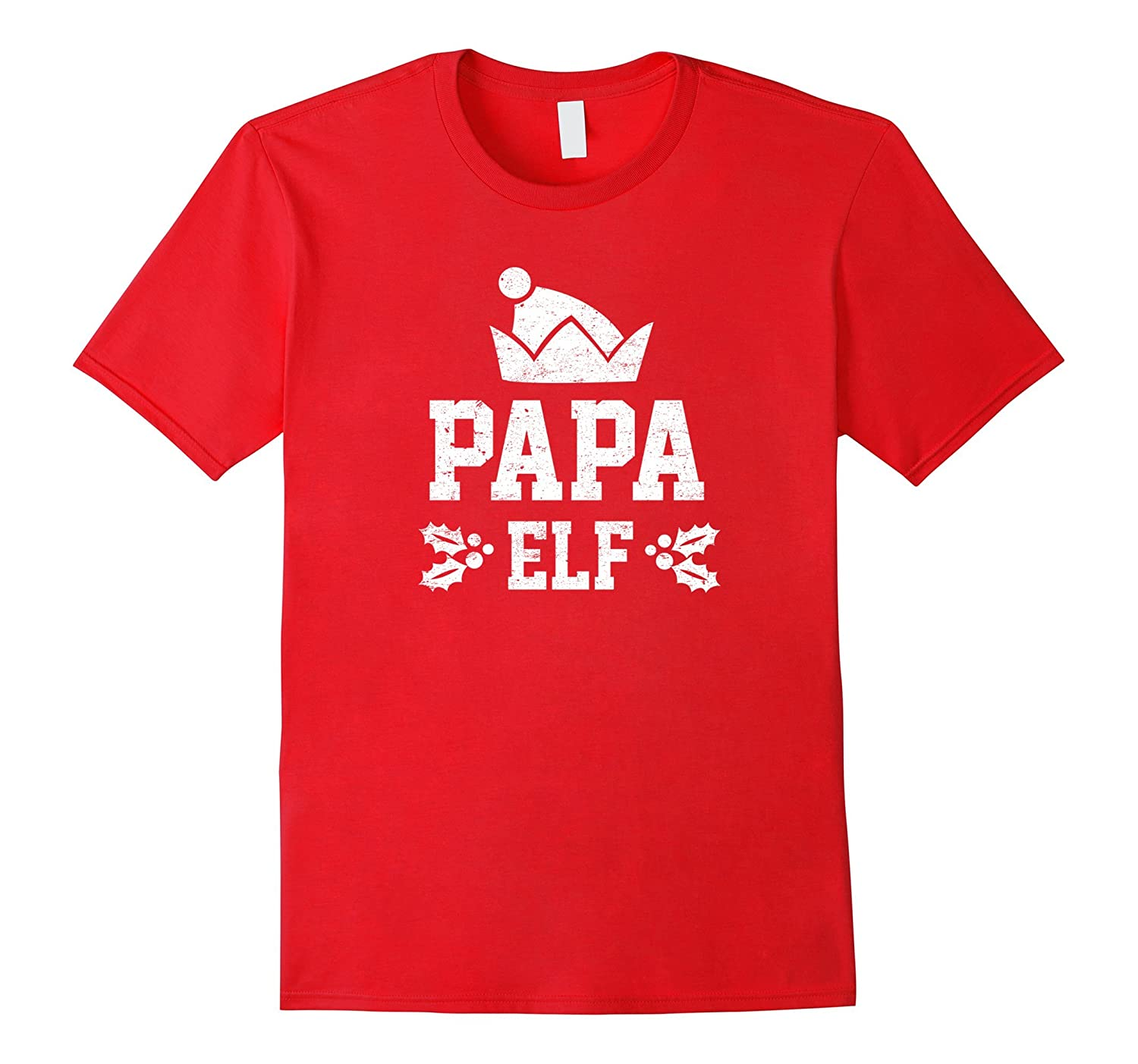 Papa Elf Pajama Christmas Holiday Season Funny Tshirt-FL
