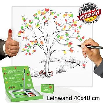 Fingerabdruck Leinwand 40x40 Inkl Zubehor Set Stempelkissen Stift