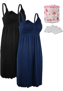 cb2d8c95e14 iLoveSIA 2pack Women s Seamless Maternity Breastfeeding Nursing Dress with  Build-in Bra