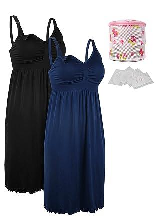 1b3b10d580c0e iLoveSIA 2pack Women s Seamless Maternity Breastfeeding Nursing Dress with  Build-in Bra Black Blue