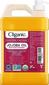 Cliganic Organic Jojoba Oil 128oz with Pump (Gallon Size), Bulk, 100% Pure - Non-GMO