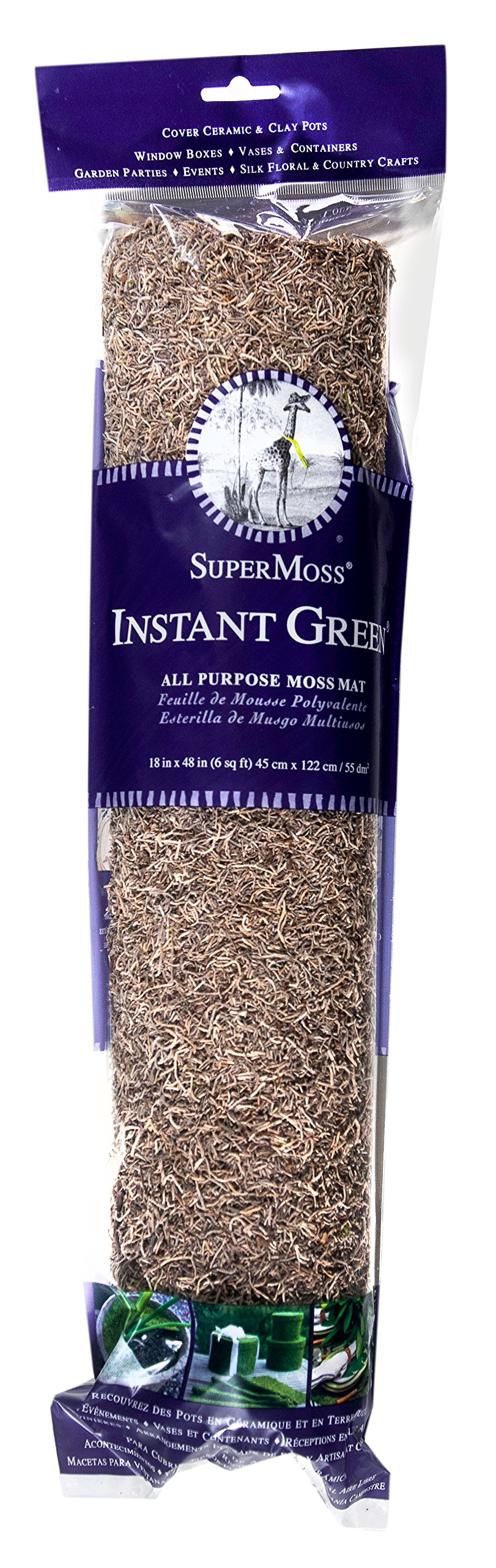 SuperMoss (22427) InstantGreen Moss Mat (Spanish Moss), Natural, 18 x 48''