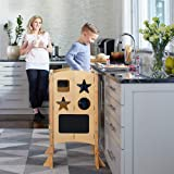 Guidecraft Classic Kitchen Helper Stool and 2 Keepers - Natural: Adjustable Height Kitchen Step Stool for Toddlers, w/ Chalkb