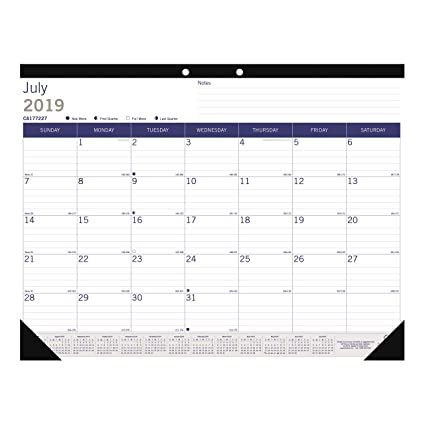 Blueline DuraGlobe Monthly Desk Pad, Academic, 13-Month, July 2019 to July 2020, 22 x 17 inches (CA177227-20)