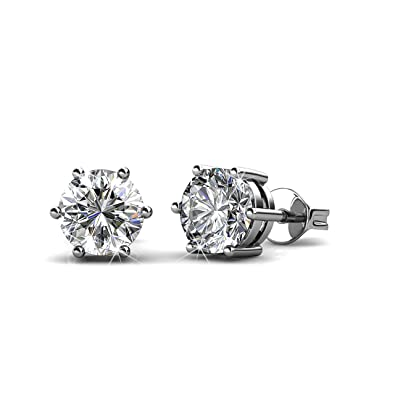 aea63029bf77 Private Twinkle 18ct White Gold Plated stud earrings made with crystal from  SWAROVSKI for Women (5mm