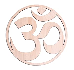 "12"" Sacred Om Symbol, Zen, Meditation Room, Yoga Decor, Wooden Decor, Wooden Wall Art, Wall Decorations, Fourth Level Mfg. Designs"