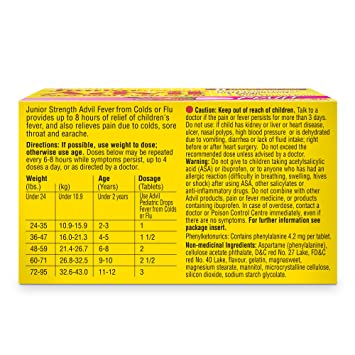 Junior Strength Advil (20 Count, Fruit Flavour) Fever from Colds or Flu, Ibuprofen Tablets: Amazon.ca: Health & Personal Care
