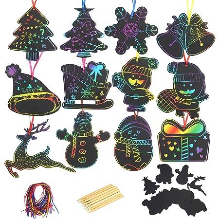 Katoom 48stk Kratzbilder Set Weihnachtsdeko Regenbogen Kratzpapier Zum Basteln Kinder Scratch Paper Diy Kratzbilderbastelsets Zum Zeichnen 12