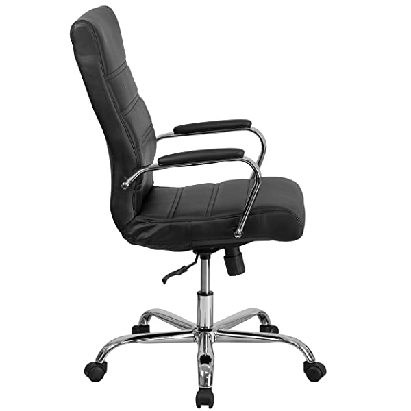 Flash Furniture High Back Black Leather Executive Swivel Chair with Chrome Base and Arms