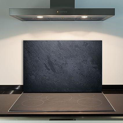 DAMU para Cubrir la vitrocerámica 1 Piezas 80 x 52 cm Cubiertas de Acero Cristal Modern Negro eléctrico Horno Cocina de inducción Placa de protección ...