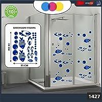 Sticker pour docce-fantasia bulles et poissons tropicaux Cod.1427–1(Bleu)