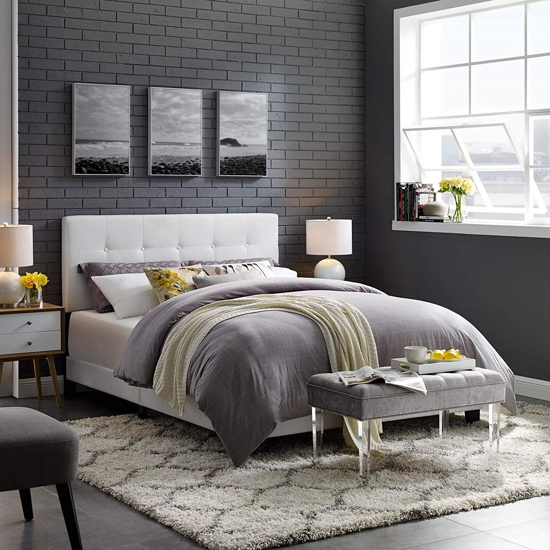 Modway Amira Full Upholstered Fabric Bed, White