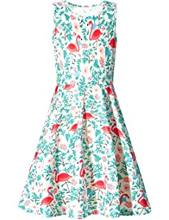 569258ad6bd16 Funnycokid Girls Sleeveless Casual Dress Kids Holiday Party Printing Dresses  4-13 Years