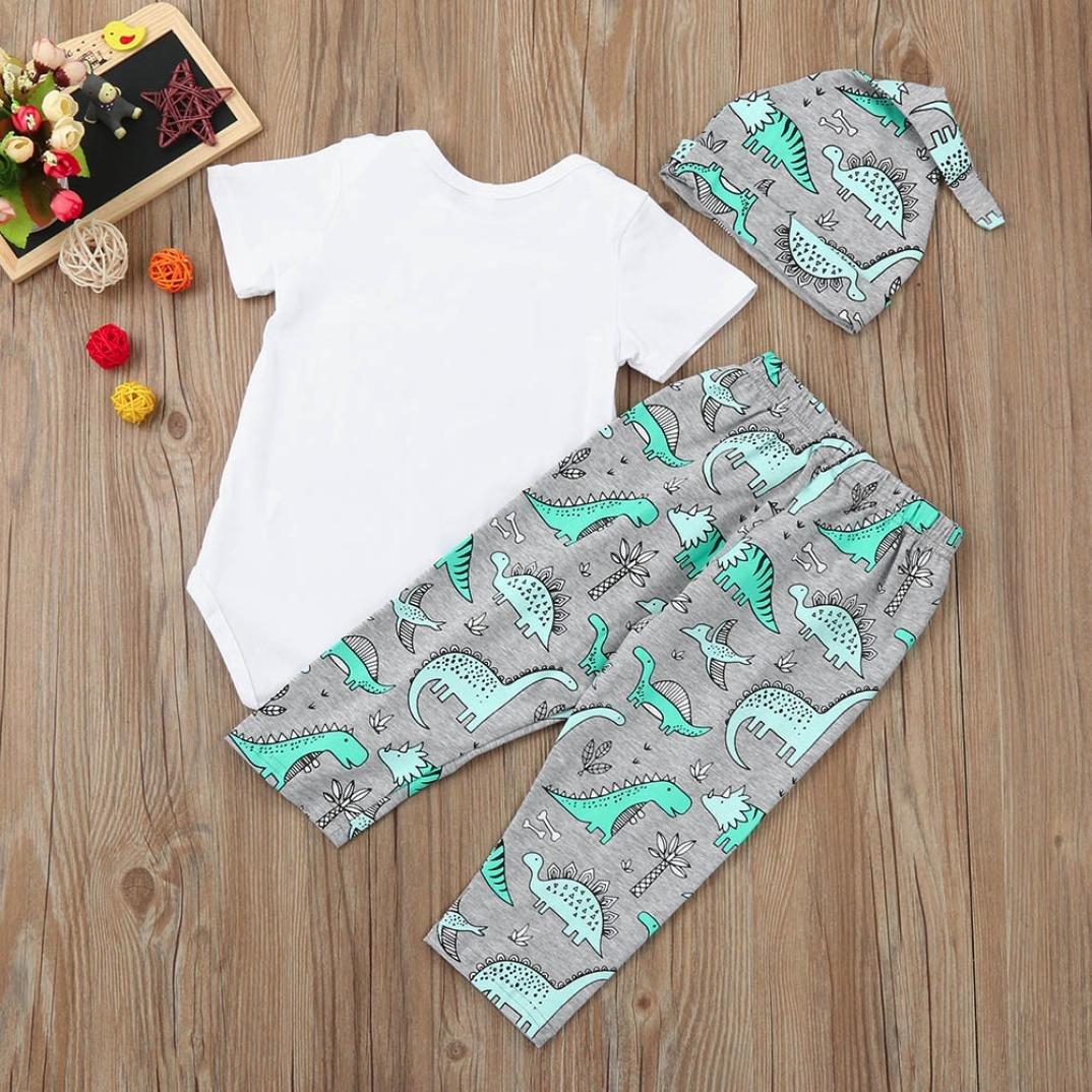 3PCS//Set Newborn Infant Baby Boy Girl Cute Letter Print Romper Tops Dinosaur Pants Hat Outfits SHOBDW Boys Clothing Sets
