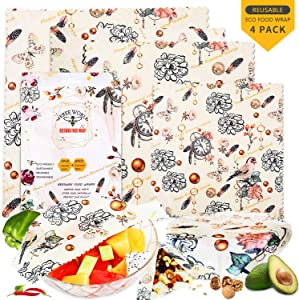 Beeswax Wrap Reusable Food Wraps 4 Pack,Eco Friendly Organic Beeswax Food Wrap Food Storage Bowls Cover