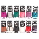 Makeup Mania Bold and Beautiful Combo (Top Coat, Base Coat, Black, Green, Silver, Brown etc, Pack of 12)