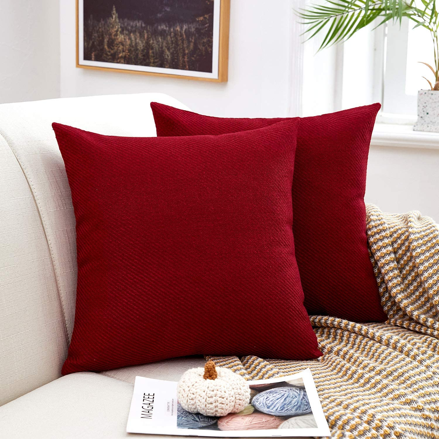 MERNETTE Pack of 2, Chenille Soft Decorative Square Throw Pillow Cover Cushion Covers Pillowcase, Home Decor Decorations for Sofa Couch Bed Chair 18x18 Inch/45x45 cm (Burgundy)