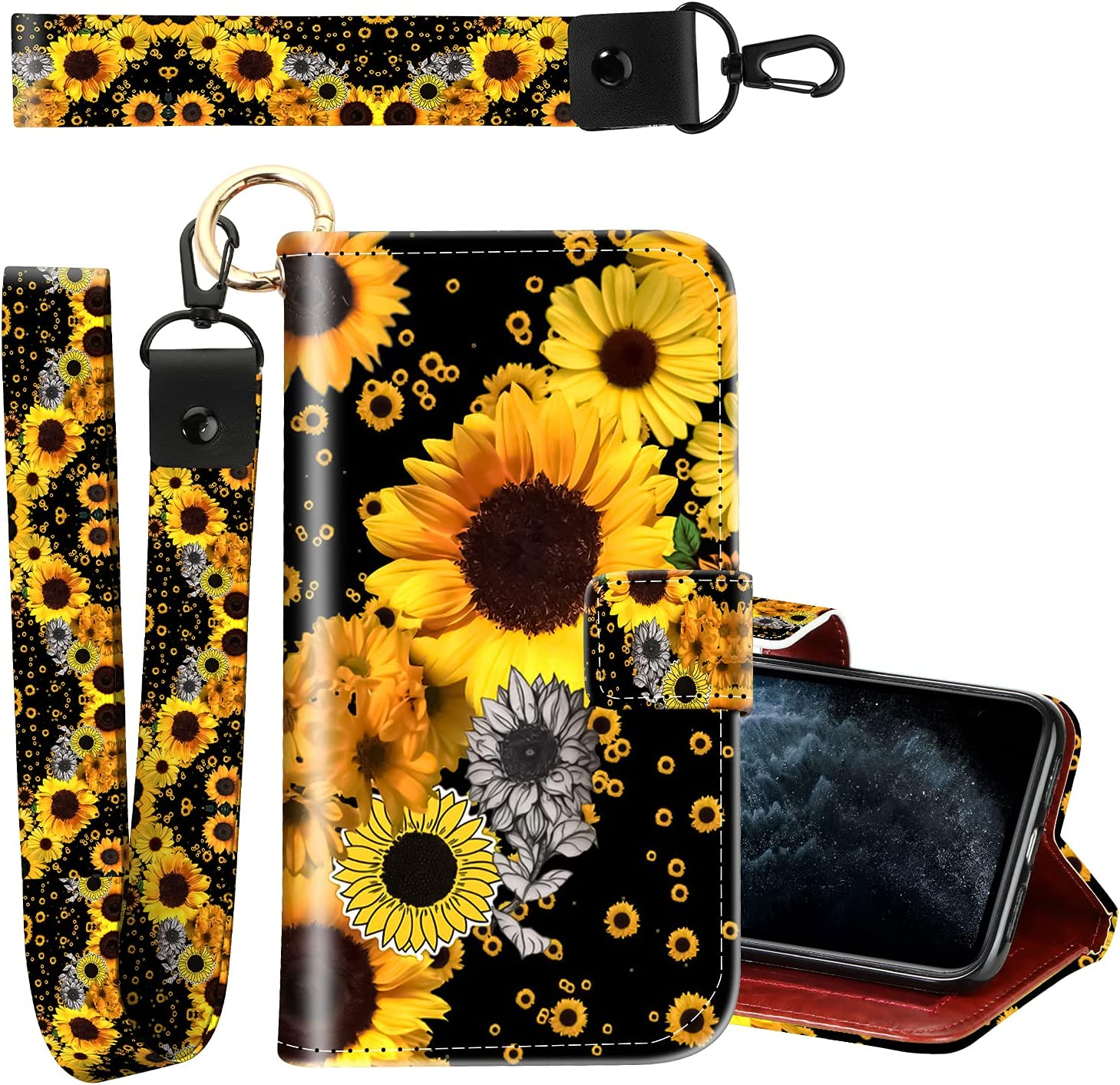 KANGHAR iPhone 11 ProMax Leather Case, Full Body Protective Flip Wallet Case with Card Slot and Bracket, Two Wrist Straps, Suitable for Women iPhone 11 ProMax 6.5 Inch Sunflower