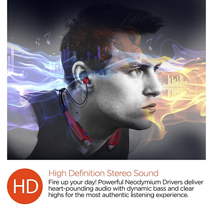 ... Earphones With Noise Cancelling Microphone, Hands-free Music & Call Vibration From Any Bluetooth-enabled Device. For walking, Running, Gym & Reclining.