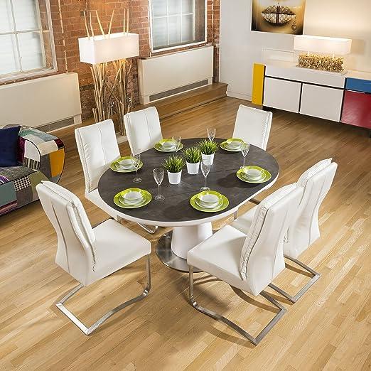 Cerámica Mesa de Comedor Extensible Redonda/Ovalada + 6 sillas ...