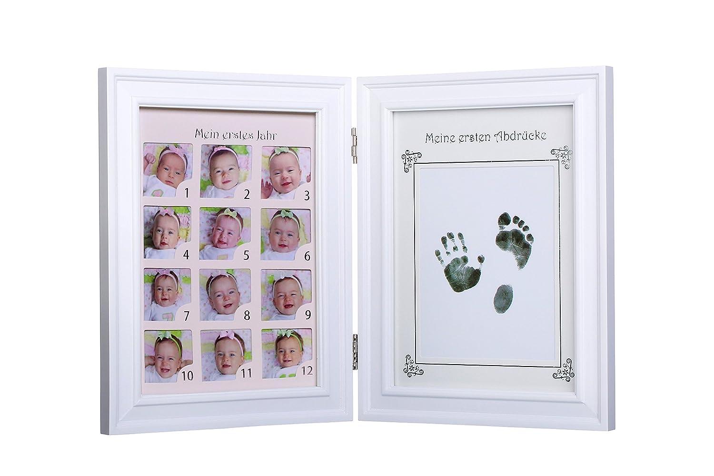 Ambrosya | Baby Bilderrahmen für Fotos + Handabdruck/Fußabdruck ...