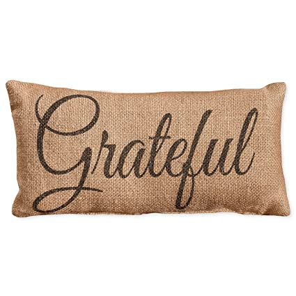 Amazon Small Grateful Calligraphy Print 40 X 40 Burlap Awesome Small Decorative Throw Pillows