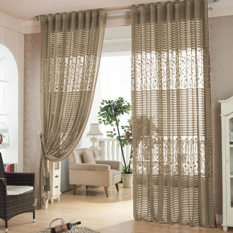 Elisona-Hollow Leaf Tulle Living Room Drape Valances Door Window Curtain Divider Grommet Curtains Brown