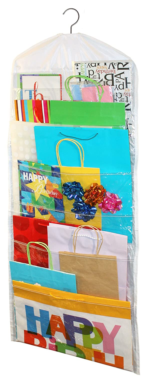 Gift Bag Organizer - Storage for Gift Bags, Bows, Ribbon and More - Organize Your Closet with this Hanging Bag & Box to Have Organization with Clear Pockets by Jokari 06427