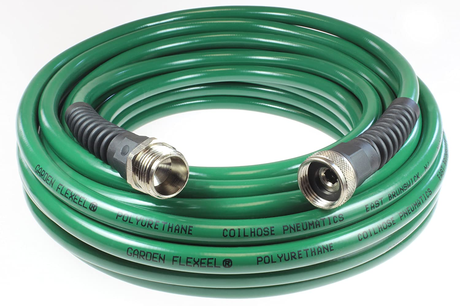 "Garden Flexeel 25-foot, 3/8"" Slender-Profile Polyurethane Garden Hose with 3/4"" Brass Hose Fittings, Green"