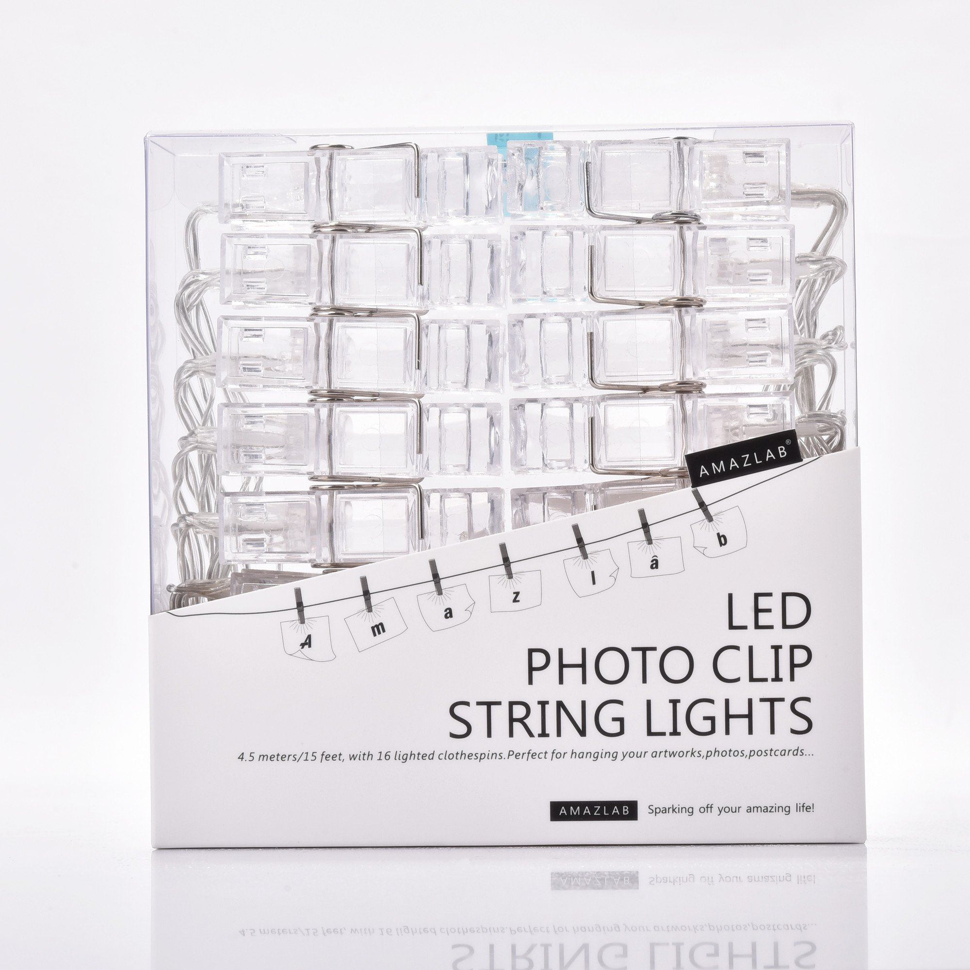 Back To School Amazlab T2CU LED Photo Clips String Lights, 16 Photo Clips, 15 Feet Long, Warm White, USB Powered, Perfect for Hanging Pictures, Notes, Artwork.