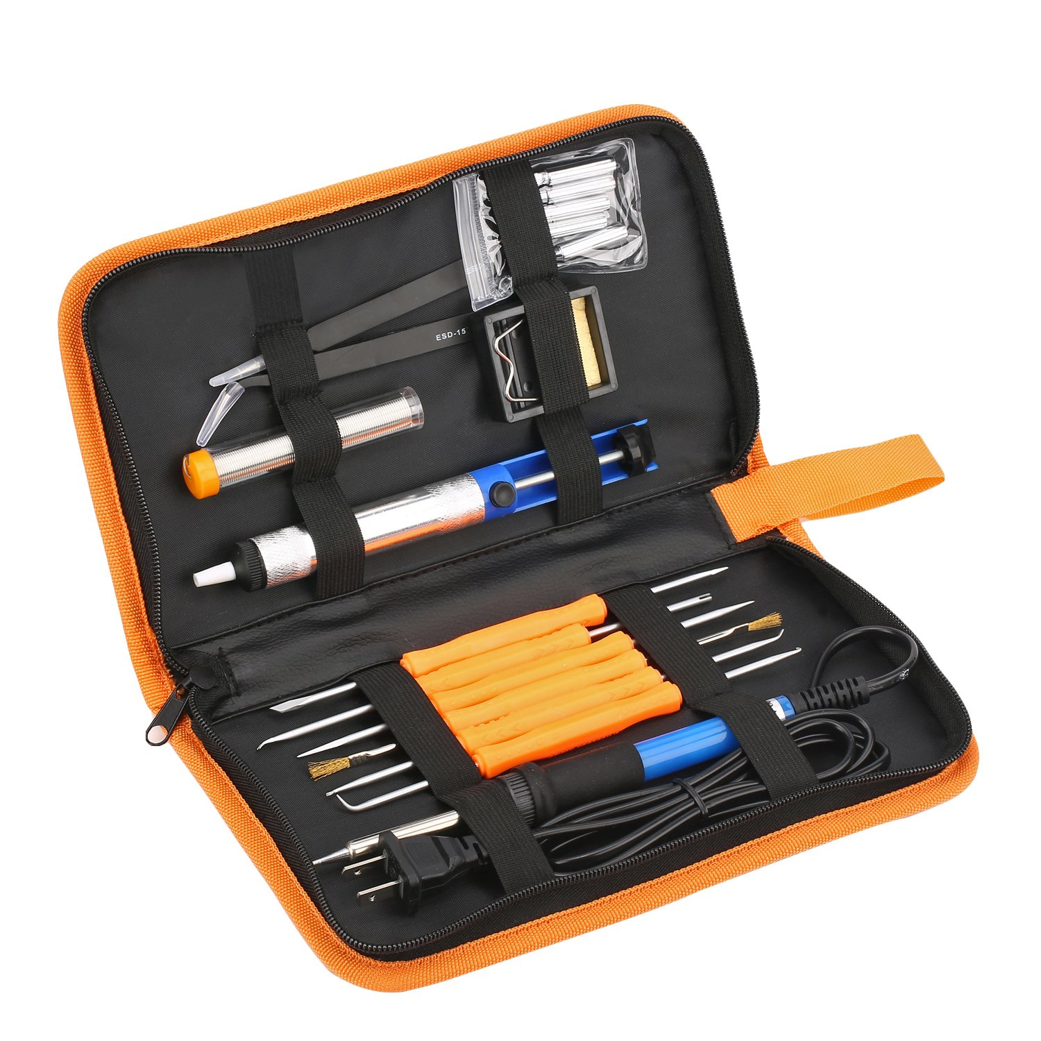 Fontic Soldering Iron Kit 7-in-1 with Carrying Case Including 60w 110V Temperature Adjustable Soldering Iron, Solder Wire,Screwdriver, Solder Sucker, Solder Stand and Soldering Tips