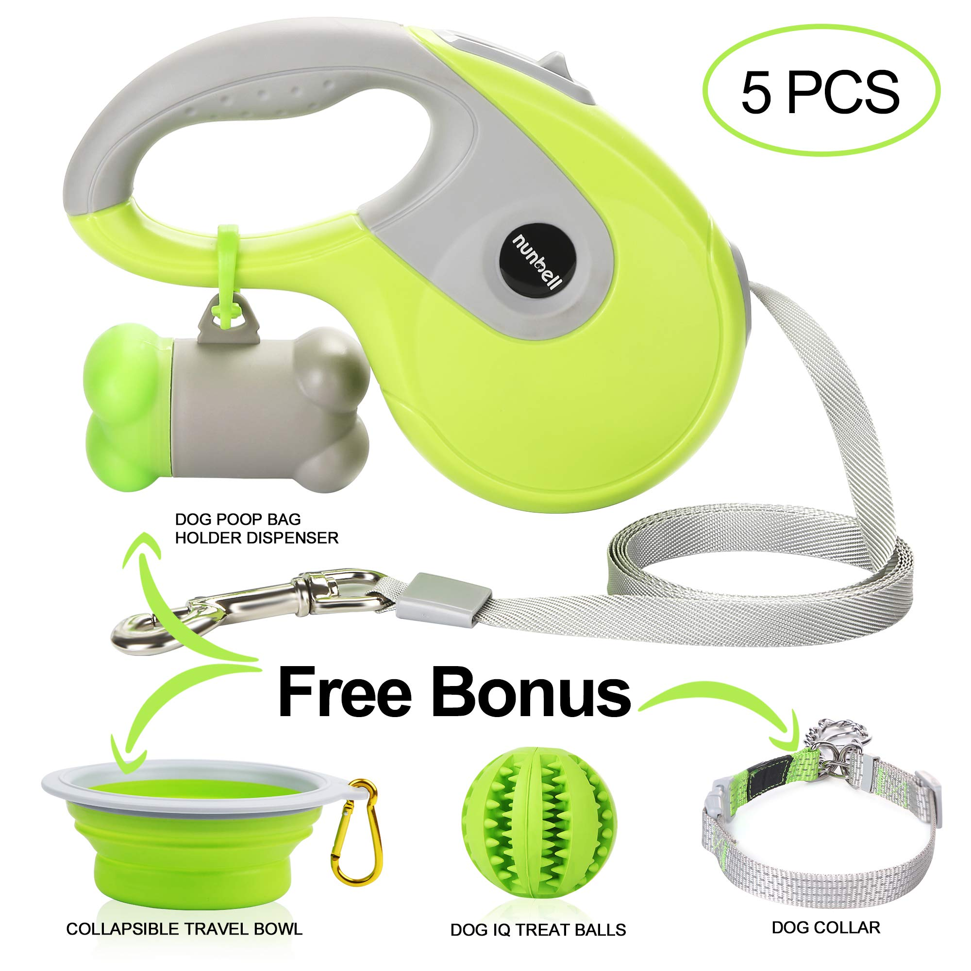 Nunbell Retractable Dog Leash,Heavy Duty 16ft Retracting Pet Leash with Free Bag Dispenser + Bonus Bowl + Dog Collar;Strong & Durable Nylon Tape/Ribbon | Dog IQ Treat Balls | Neon Green