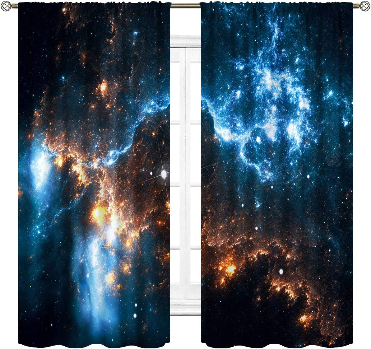 Cinblue Galaxy Sky Curtains Rod Pocket Nebula Planet Night Starry Star Universe Outer Space Fantasy Art Printed Living Room Bedroom Window Drapes Treatment Fabric 2 Panels 42 W x 63 L Inch
