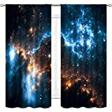 Cinbloo Galaxy Sky Curtains Rod Pocket 42(W) x 63(L) Inch Nebula Planet Night Starry Star Universe Outer Space Fantasy…