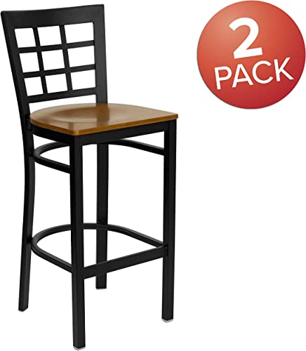 Flash Furniture 2 Pk. HERCULES Series Black Window Back Metal Restaurant Barstool