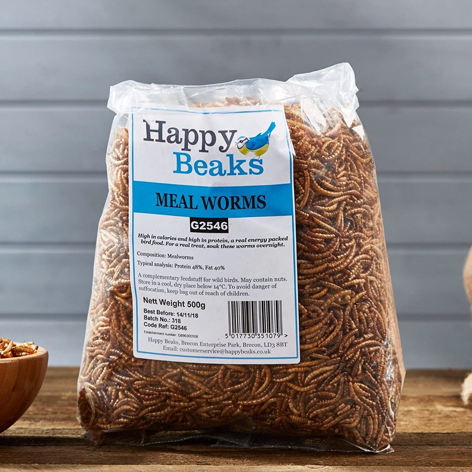 Happy Beaks Dried Mealworms For Wild Birds (500g Bag) High Energy, High Protein Premium Bird Food