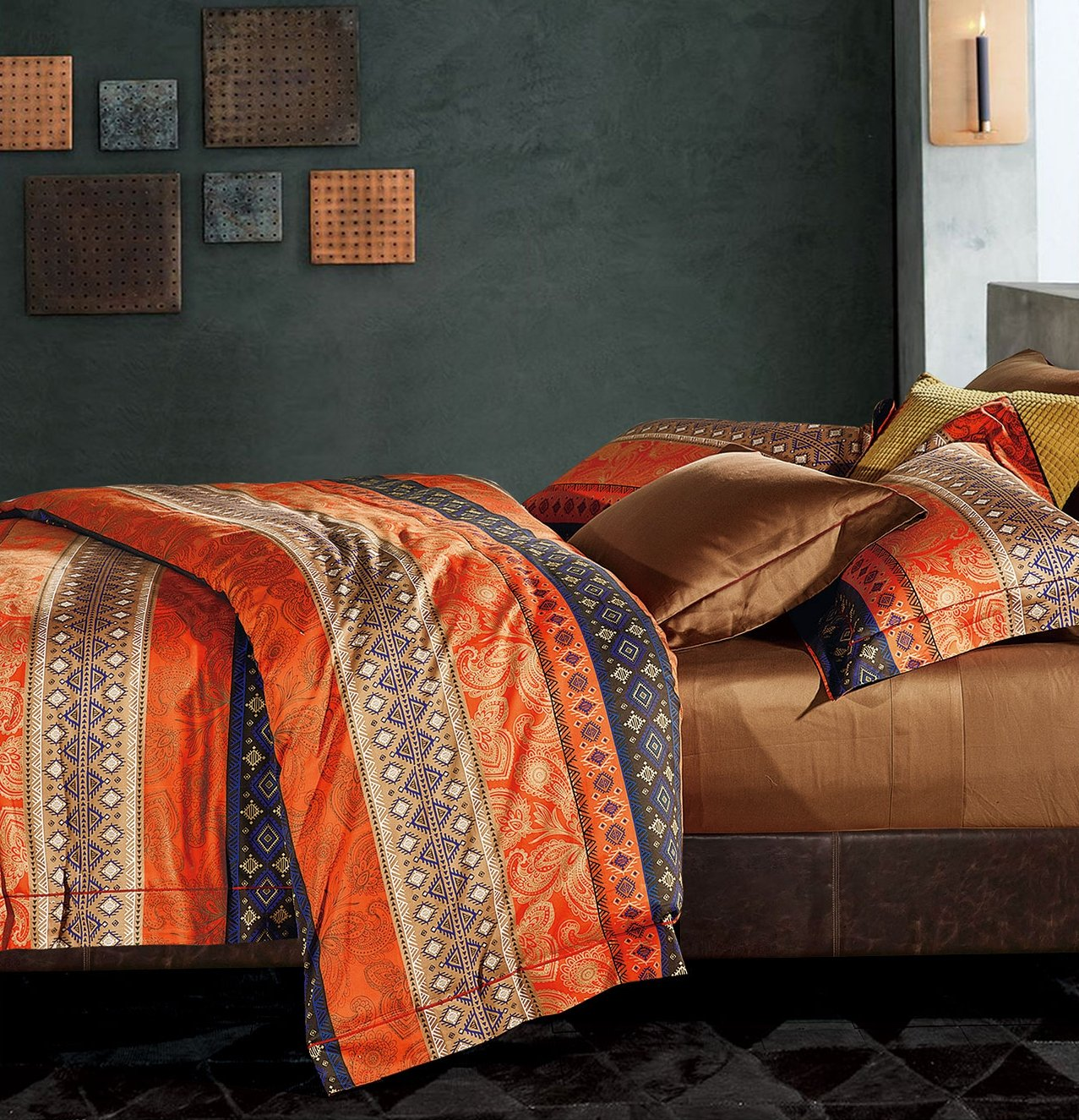 Bohemian Duvet Cover Striped Ethnic Boho Reversible Vintage Story Cushion Shabby Patchwork 60x60cm 2 Southwestern 400tc Cotton King Size Bedding 3pc Set Navy White Orange Modern Geo Aztec Print