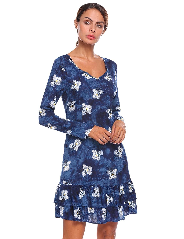 c44025b1253443 Hot Sale 2019 Meaneor Damen Baumwolle Rüschen Kleid Langarm Blumenkleid  V-Ausschnitt Volantkleid Elegant Knielang