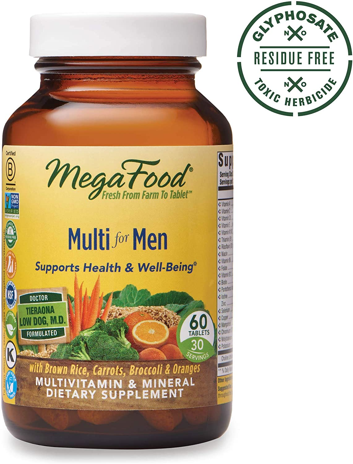 MegaFood, Multi for Men, Supports Optimal Health and Wellbeing, Multivitamin and Mineral Supplement, Gluten Free, Vegetarian, 60 tablets 30 servings