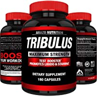 Tribulus Terrestris Extract Powder | Testosterone Booster with Estrogen Blocker | 45% Steroidal Saponins 1500mg | Arazo Nutrition USA - 180 Capsules