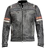 Cafe Racer Jacket Distressed Moto Vintage Black Motorcycle Leather Jacket