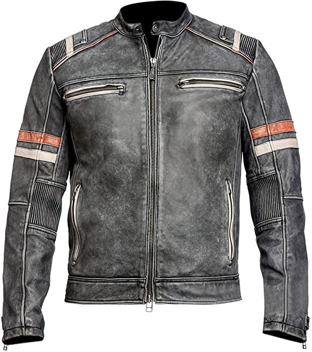Mens Vintage Cafe Racer Retro Motorcycle Distressed Biker Leather Jacket