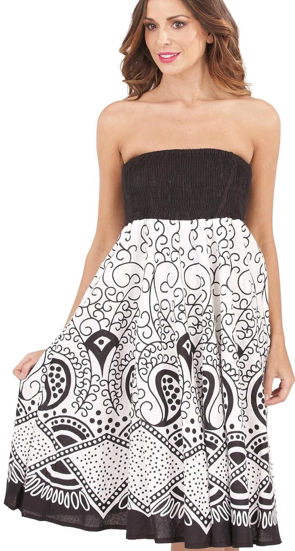 Black Blue or Pink Ladies 100/% Cotton Multi Swirl Print 2 in 1 Bandeau Summer Dress//Maxi Skirt