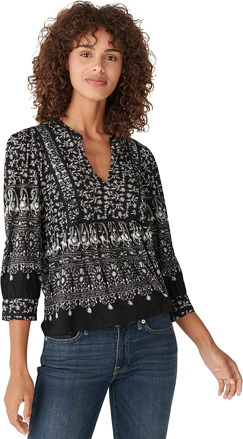 Lucky Brand Women's Puff Sleeve Notch Ranking TOP6 Sale Special Price Mixed Print Neck Top Knit