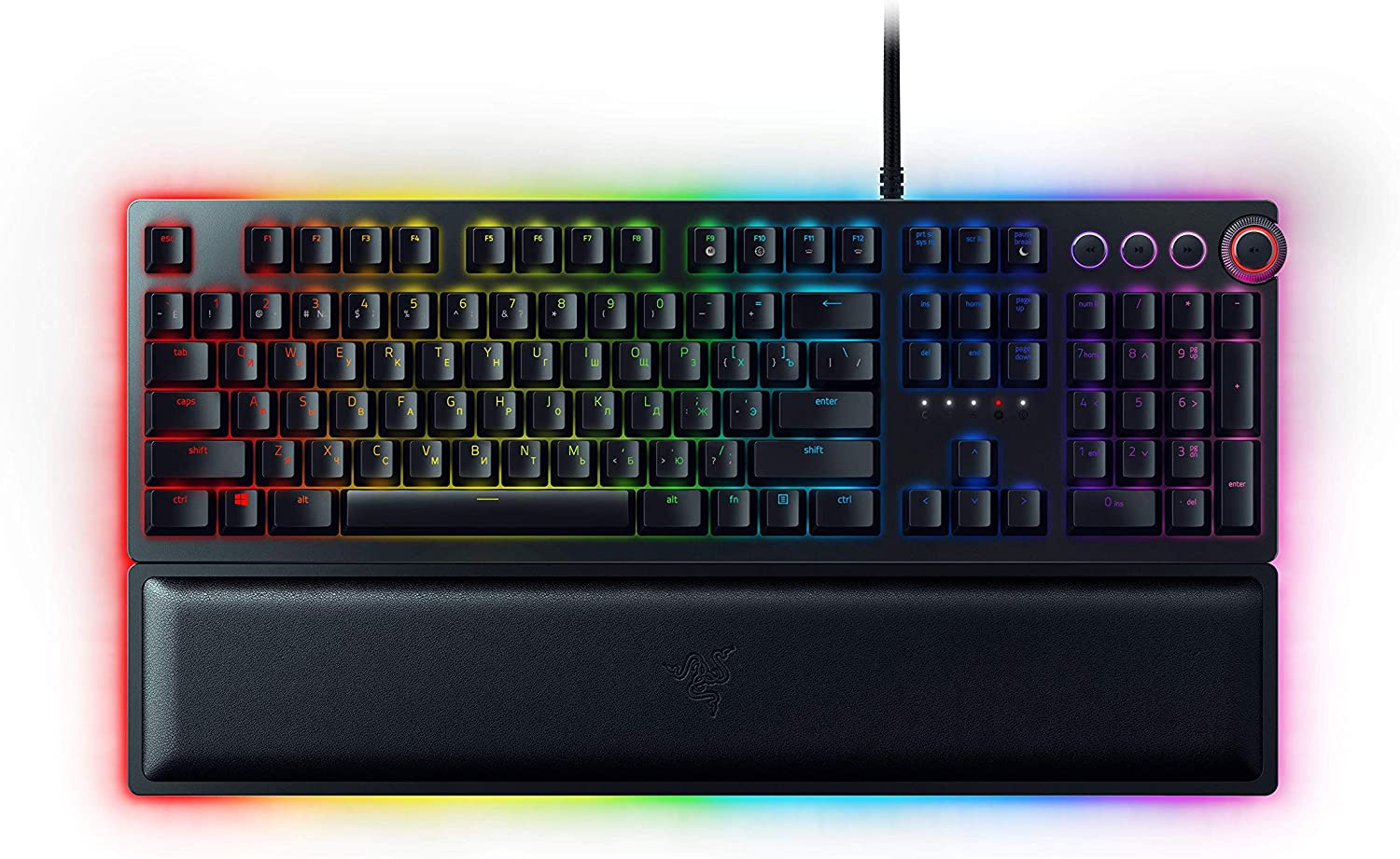 A wired keyboard with RGB Lighting, programmable buttons, a magnetic  wrist rest and optical switches.