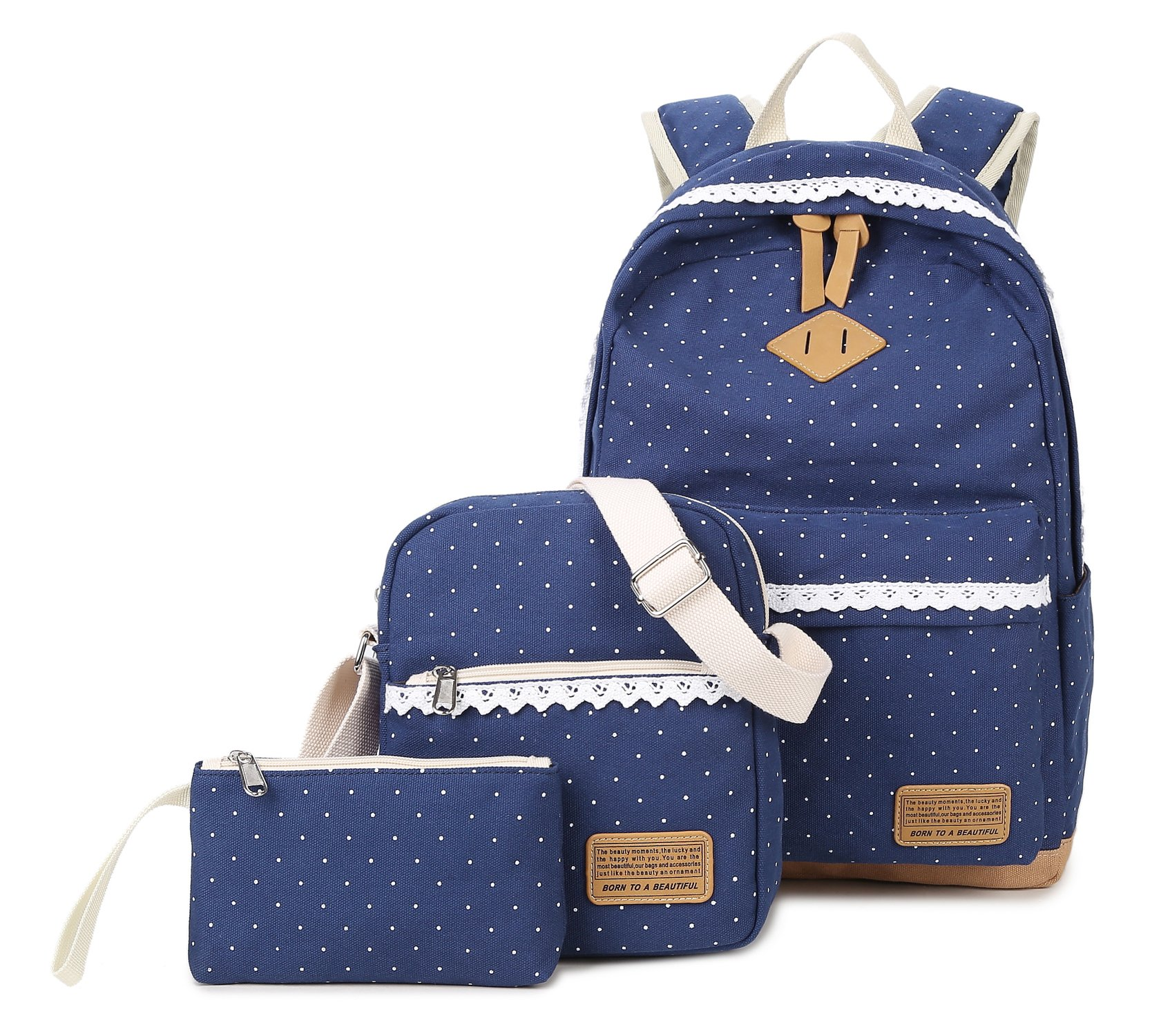 Tibes Canvas Backpack Middle School Backpack 3pcs Set Daypack Blue