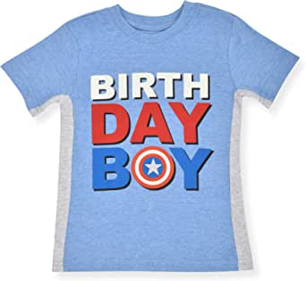 Marvel Kid's Captain America Birthday Boy Party Outfit Tee Shirt