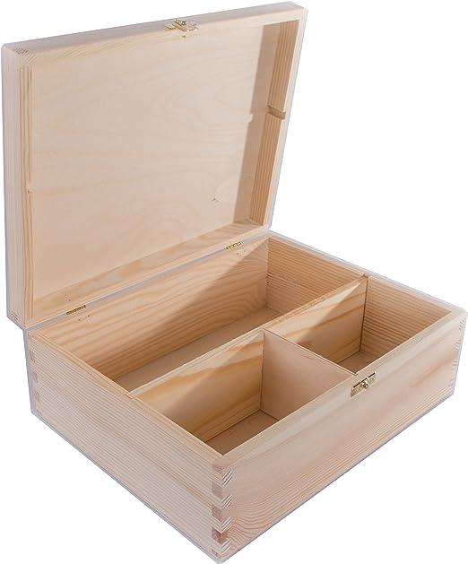 SearchBox Grande Caja de Madera con 3 Compartimentos y Cierre/sin ...