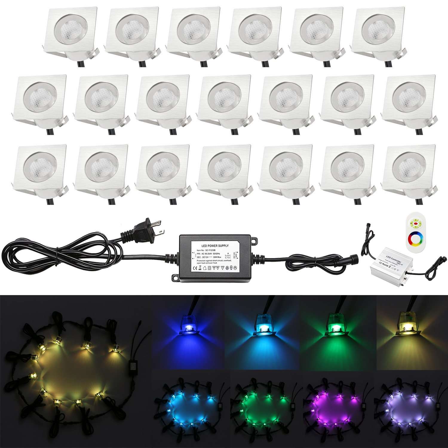 Low Voltage Deck Lighting, QACA 20pcs 0.1W~0.3W Multi-Color RGB LED Deck Lights Kit 1-3/5'' Stainless Steel Recessed Wood Outdoor Yard Garden Decoration Lamp Patio Stairs Landscape Step Lighting by QACA